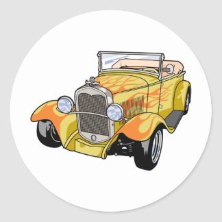 Cool Flamed Street Rod Round Sticker
