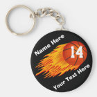 Cool Flaming Personalised Basketball Keychains
