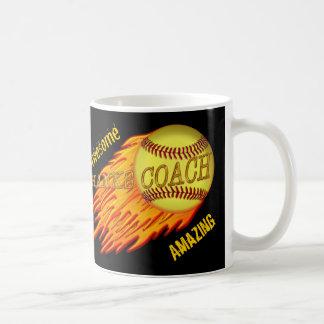 Cool Flaming SOFTBALL COACH GIFTS are Customizable Coffee Mug