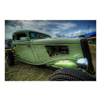 Cool Flathead Hot Rod in HDR Poster