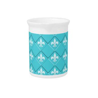 cool fleur-de-lis pattern blue white pitcher