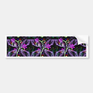 Cool Floral Butterfly Pattern Bumper Sticker
