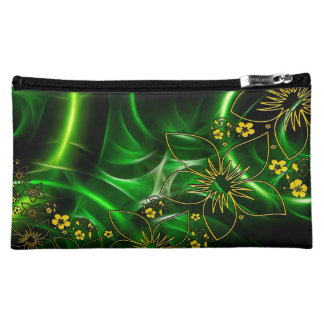 Cool Floral Green Yellow Abstract Neon Glowing Cosmetic Bags
