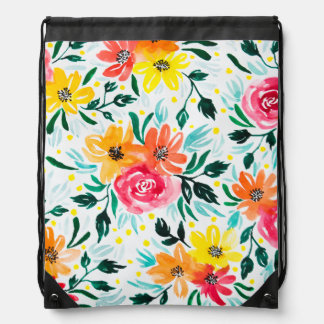 Cool Floral Watercolor Illustration Pattern Drawstring Bag