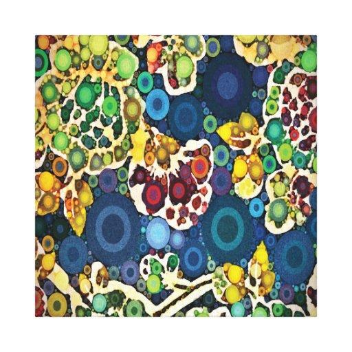 Cool Flower Mosaic Concentric Circles Art Design Canvas Print