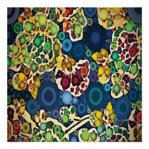 Cool Flower Mosaic Concentric Circles Art Design Posters