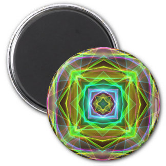 Cool Fluorescent Electrifying Pastel Squares 6 Cm Round Magnet