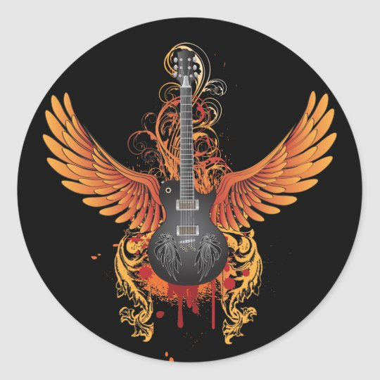 Cool Flying Guitar Sticker