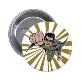 Cool flying super hero comic character 6 cm round badge