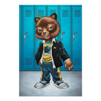 Cool For School Cat Drawing by Al Rio Poster