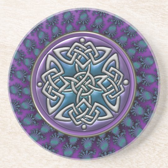Cool Fractal Mandala Celtic Knot Beverage Coaster