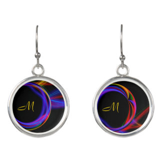 Cool Fractal Psychedelic Neon Glow Abstract Ball Earrings
