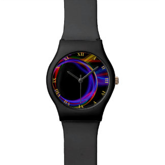 Cool Fractal Psychedelic Neon Glow Abstract Ball Watch
