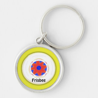 Cool Frisbee Design Silver-Colored Round Key Ring