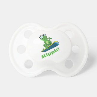 Cool frog on a snowboard, Custom Color Pacifiers