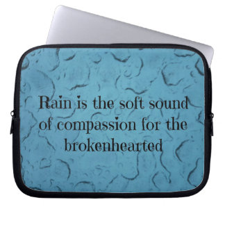 Cool Frozen Rain On Glass W/Quote Laptop Sleeve