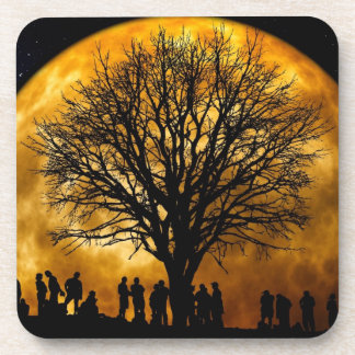 Cool Full Harvest Moon Tree Silhouette Gifts Coaster