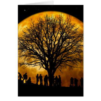 Cool Full Harvest Moon Tree Silhouette Gifts Greeting Card