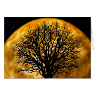 Cool Full Harvest Moon Tree Silhouette Gifts Note Card