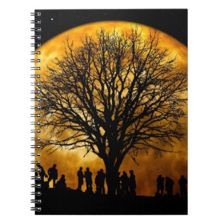 Cool Full Harvest Moon Tree Silhouette Gifts Spiral Note Books