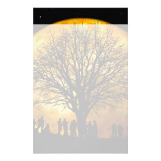 Cool Full Harvest Moon Tree Silhouette Gifts Personalized Stationery