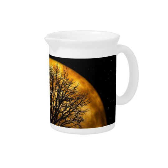 Cool Full Harvest Moon Tree Silhouette Gifts Pitcher