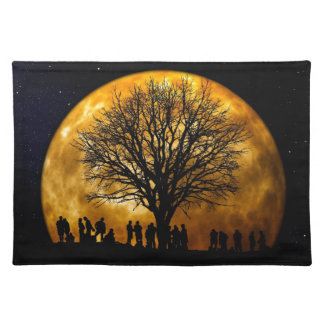 Cool Full Harvest Moon Tree Silhouette Gifts Place Mat