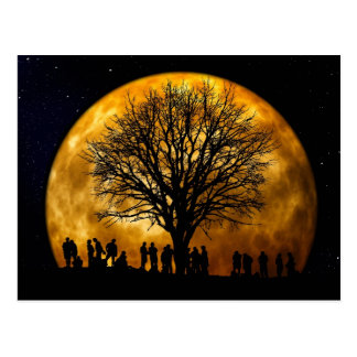 Cool Full Harvest Moon Tree Silhouette Gifts Postcard