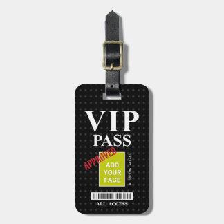Cool fun black and white customizable VIP Pass… Luggage Tag