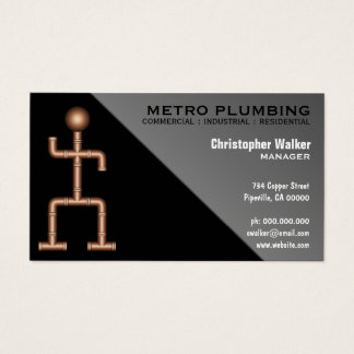 Cool Fun Black Gray Plumber Plumbing Business Card