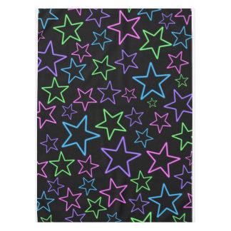 Cool, Fun, Bright Dynamic Neon Stars Pattern Tablecloth