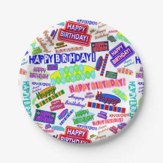 Cool Fun Dynamic Retro Happy Birthday Pattern 7 Inch Paper Plate