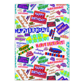 Cool Fun Dynamic Retro Happy Birthday Pattern Card