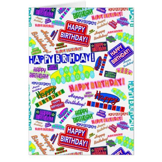 Cool Fun Dynamic Retro Happy Birthday Pattern Card