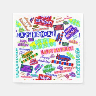 Cool Fun Dynamic Retro Happy Birthday Pattern Paper Napkin
