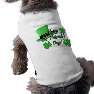 Cool fun Green top hat Shamrocks Patricks Day dog