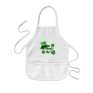 Cool fun Green top hat  Shamrocks St. Patricks Day Kids Apron