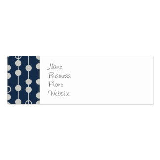 Cool Fun Navy Blue and White Beads on a String Business Card Templates