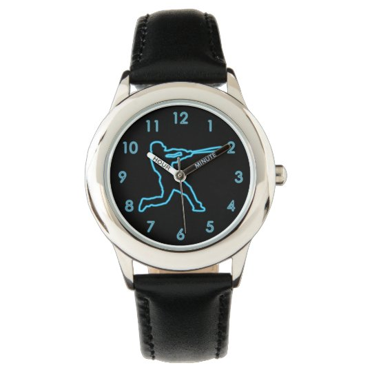 Cool Fun Unique Neon Blue Baseball Batter Watch