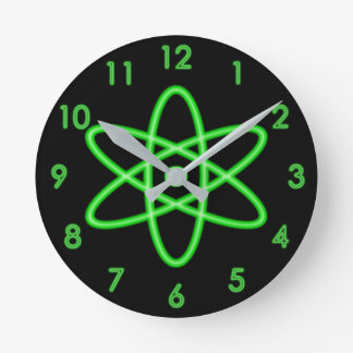 Cool Fun Unique Neon Light Green Atomic Symbol Round Clock