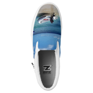 "Cool Funky ""Beach Scene"" With Boat Slip On Shoes"