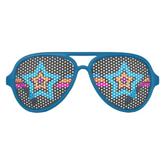 Cool Funky Blue Stars Aviator Sunglasses