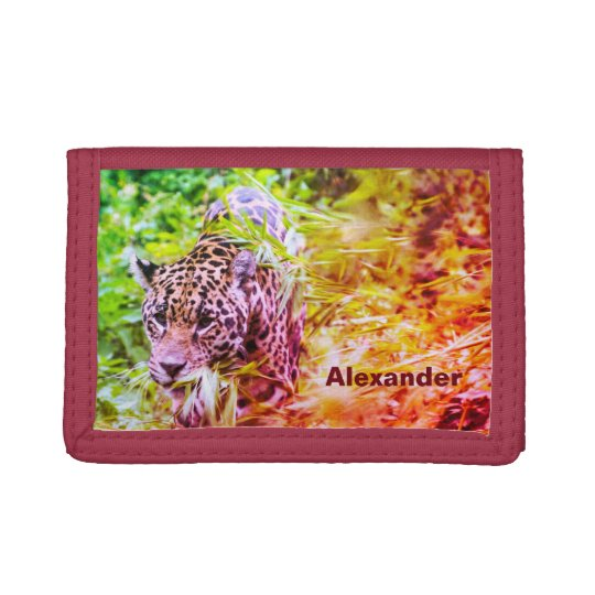 Cool Funky Cheetah Personalised Name Trifold Wallets