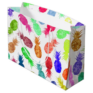 Cool Funky Funny Watercolor Pineapple Pattern Large Gift Bag