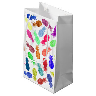 Cool Funky Funny Watercolor Pineapple Pattern Small Gift Bag