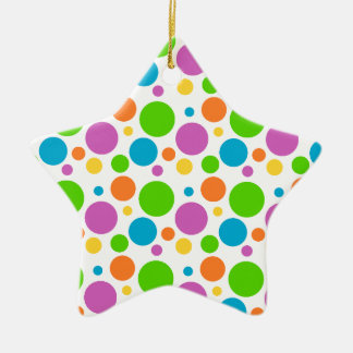 Cool Funky Multicolored Polka Dot Pattern Circle Ceramic Star Decoration