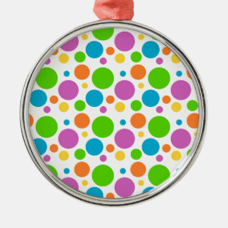 Cool Funky Multicolored Polka Dot Pattern Circle Silver-Colored Round Decoration