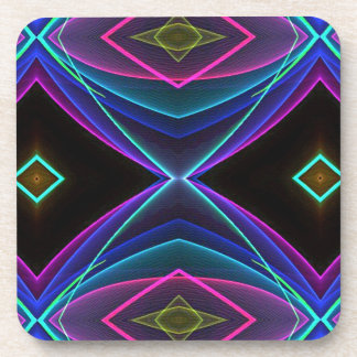 Cool Funky Neon Fluorescent Colored Pattern Coaster