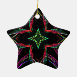 Cool Funky Neon Red Green Purple Abstract Ceramic Star Decoration