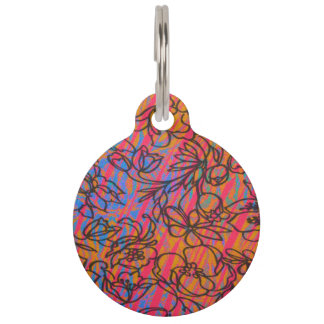 Cool Funky Painted Drawn Hawaiian Flowers Pet Tag